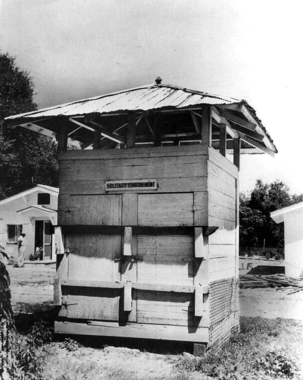 "Perkins, Duane. ""Sweat box"" used for solitary confinement at the Florida State Prison - Raiford, Florida. 1957 or 1958. Black & white photoprint, 10 x 8 in. State Archives of Florida, Florida Memory. , accessed 15 January 2019."
