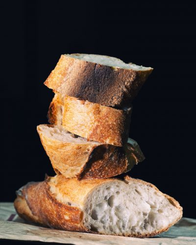 stacks of bread pieces